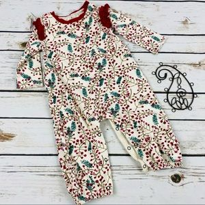 Burts Bees Baby Long Romper Mistletoe Holiday